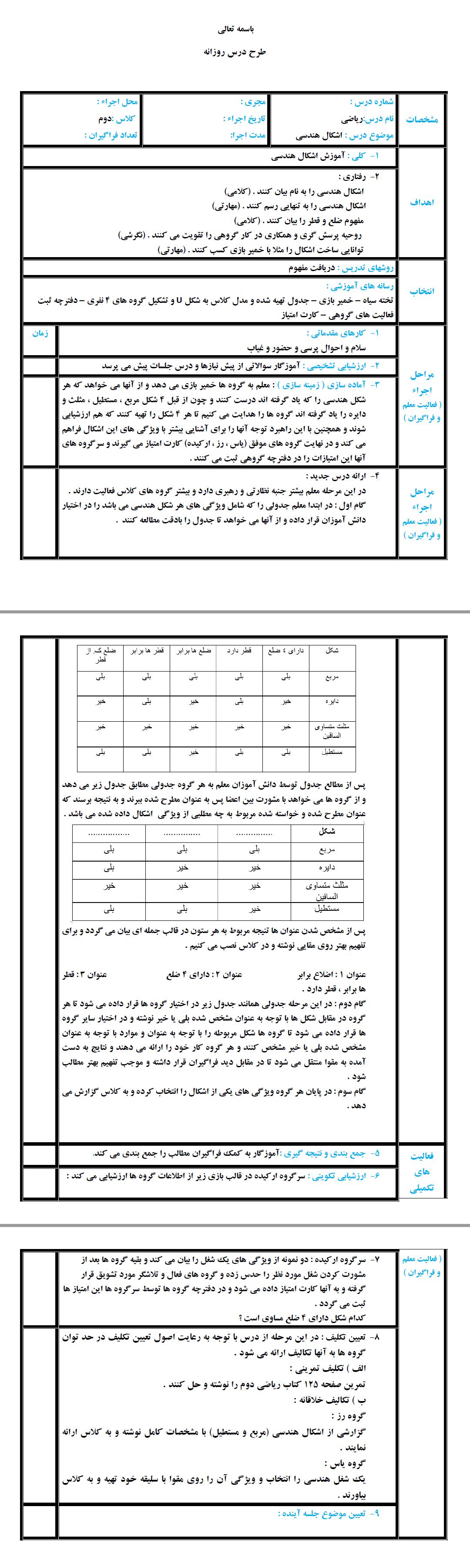 نمونه طرح درس دوم ابتدایی